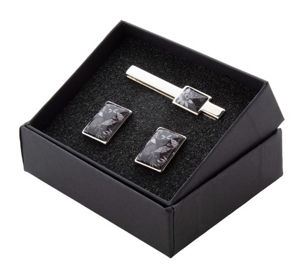Cufflink And Tie Clip Set Maestro - Silver