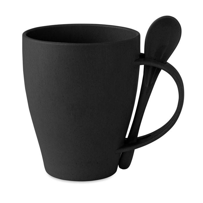 Kaffeebecher mit Löffel Dual Fibre - schwarz