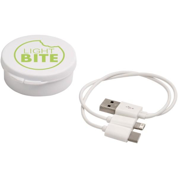 Nabíjecí kabel Versa 3-v-1 v pouzdru - Bílá