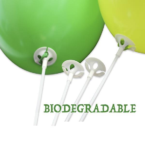Varetas Biodegradáveis Com Suporte Para Balões - Branco