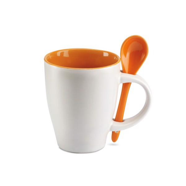 Bicolour mug with spoon 250 ml Dual - Orange