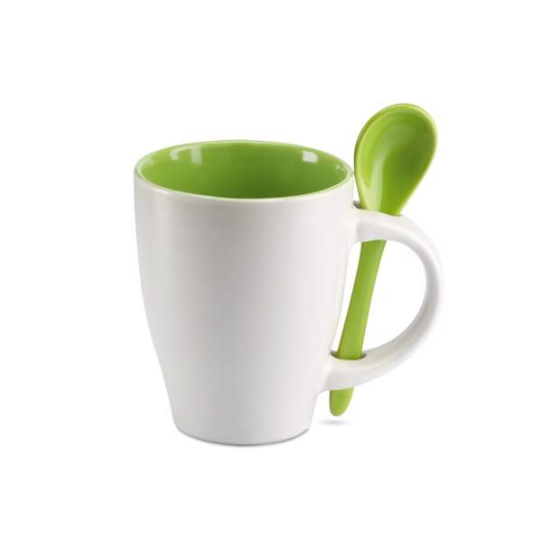 Bicolour mug with spoon 250 ml Dual - Green