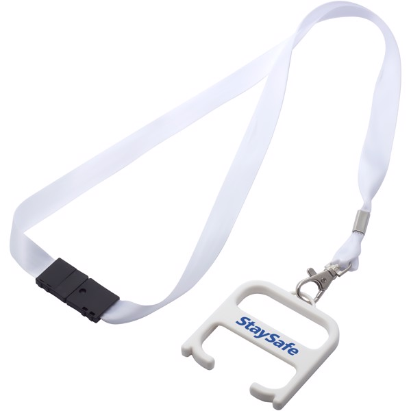 Hygiene handle with lanyard - White