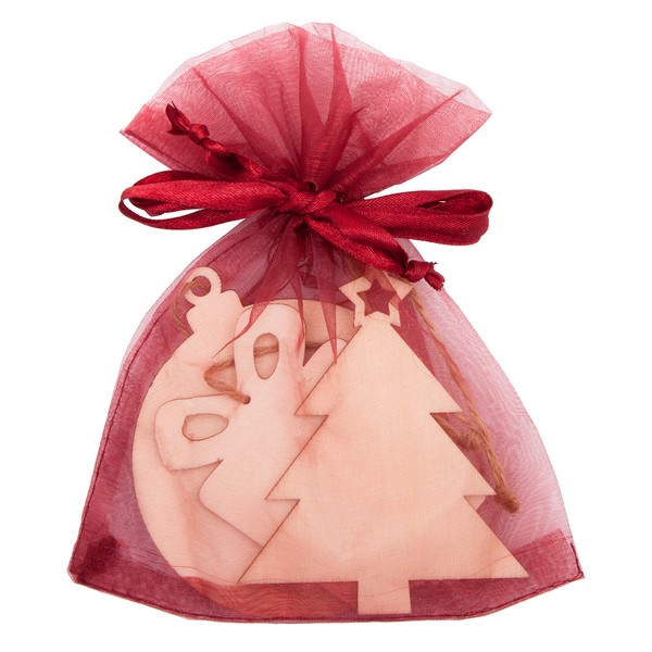 Xmas wooden decoration set in a bag