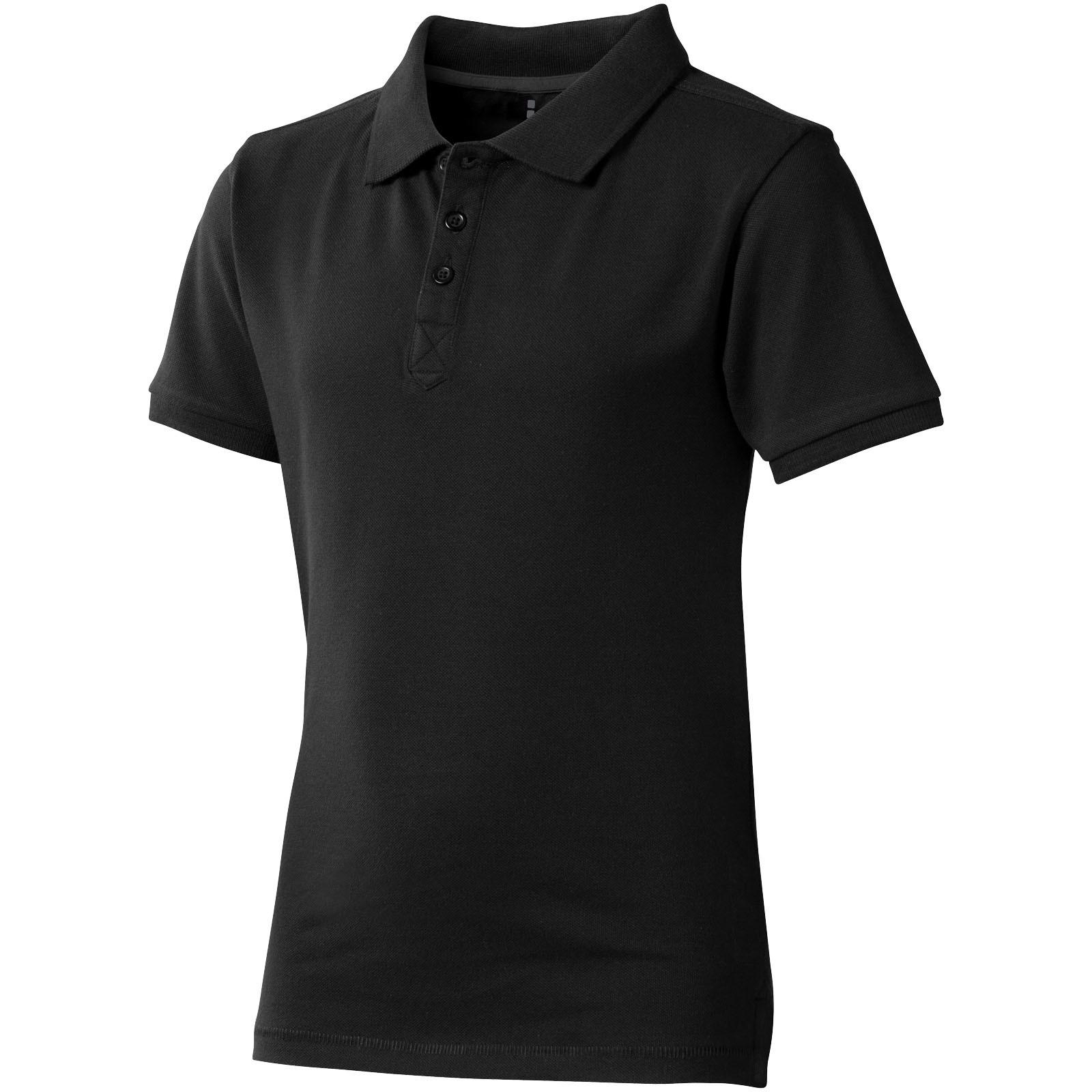 Calgary short sleeve kids polo - Solid Black / 104