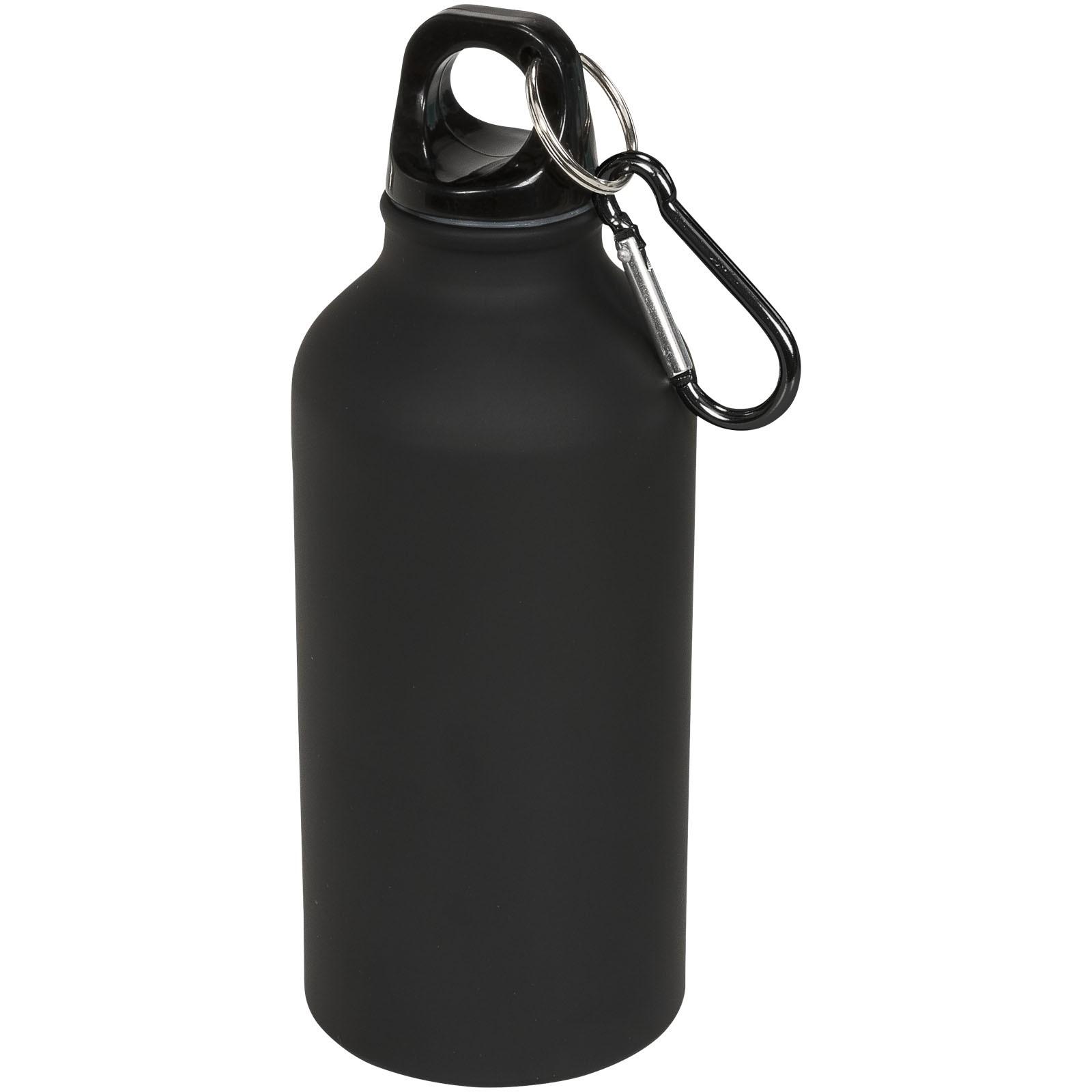 Matová sportovní láhev Oregon 400 ml s karabinkou - Černá