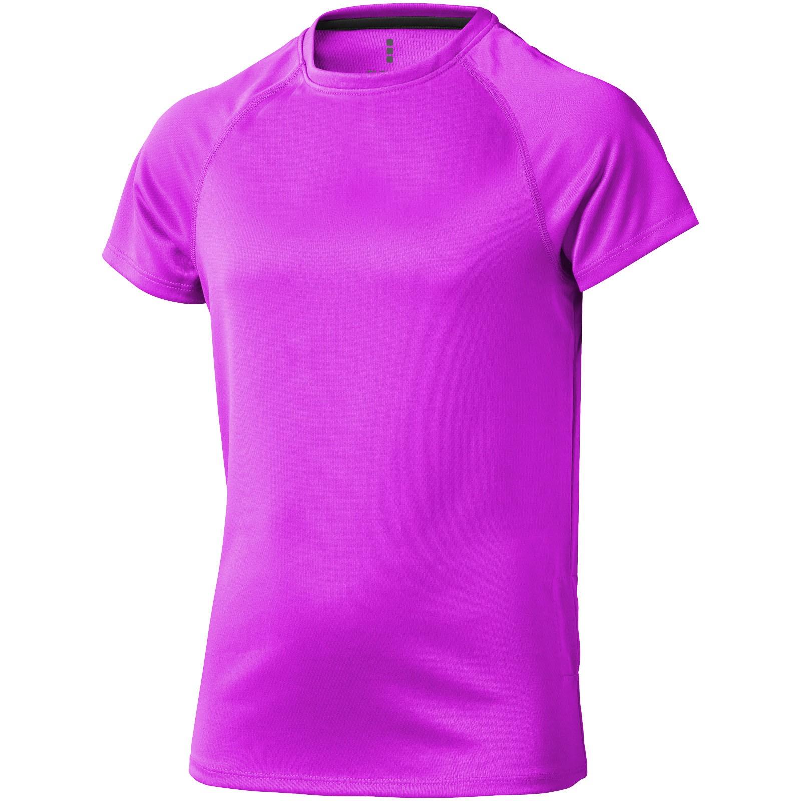 Dětské triko Niagara s krátkým rukávem, s povrchovou úpravou - Neonově Růžová / 128