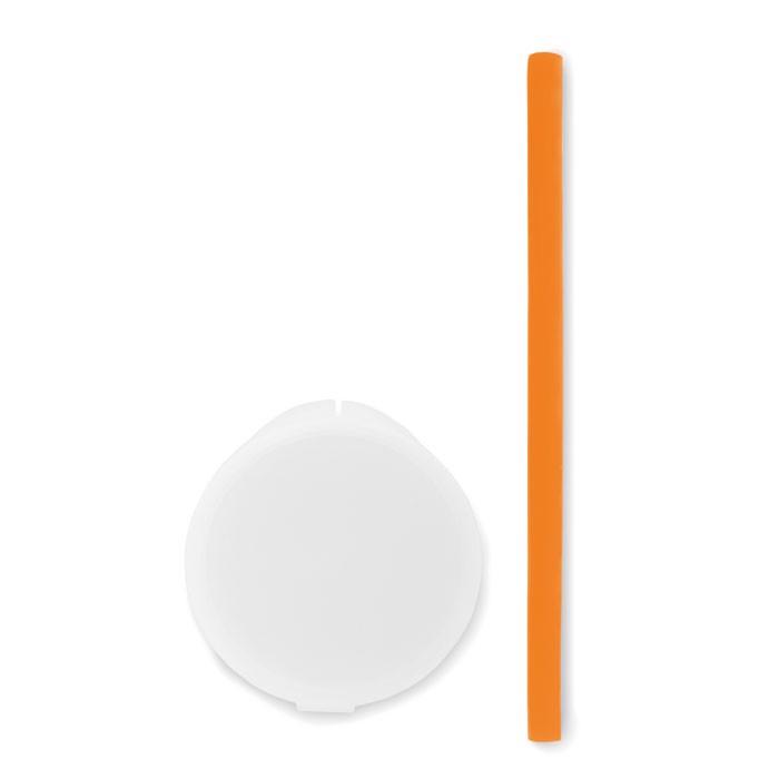 Silicone straw in PP case Flexy Straw - Orange