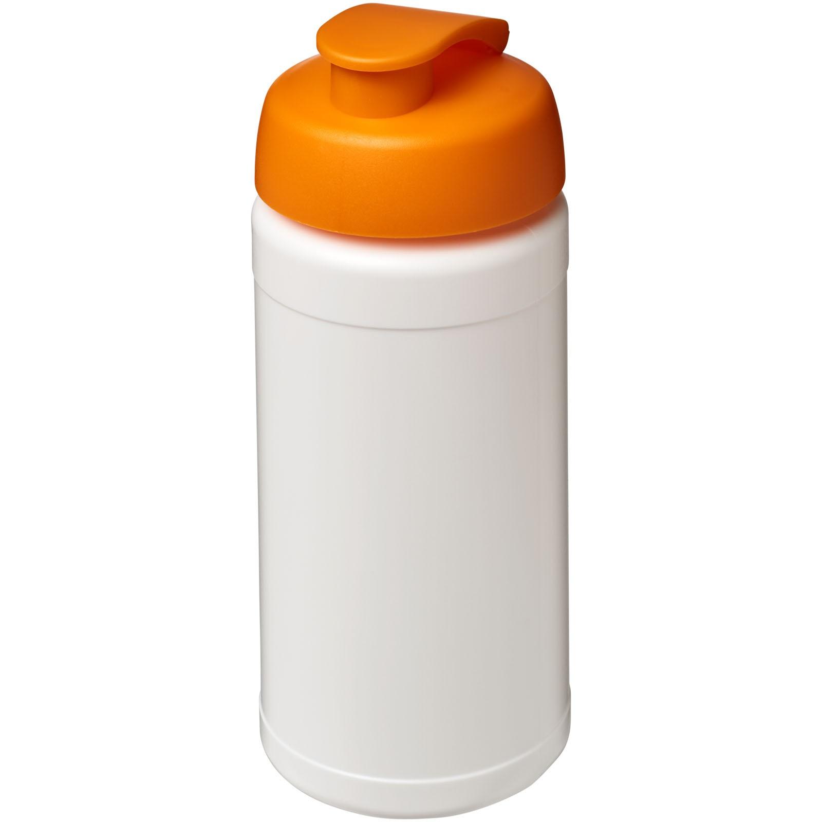 Baseline® Plus 500 ml Sportflasche mit Klappdeckel - Weiss / Orange