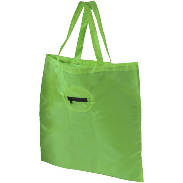 Take-away foldable shopping tote bag with keychain - Lime