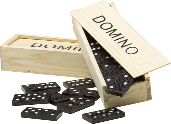 Wooden box with domino game