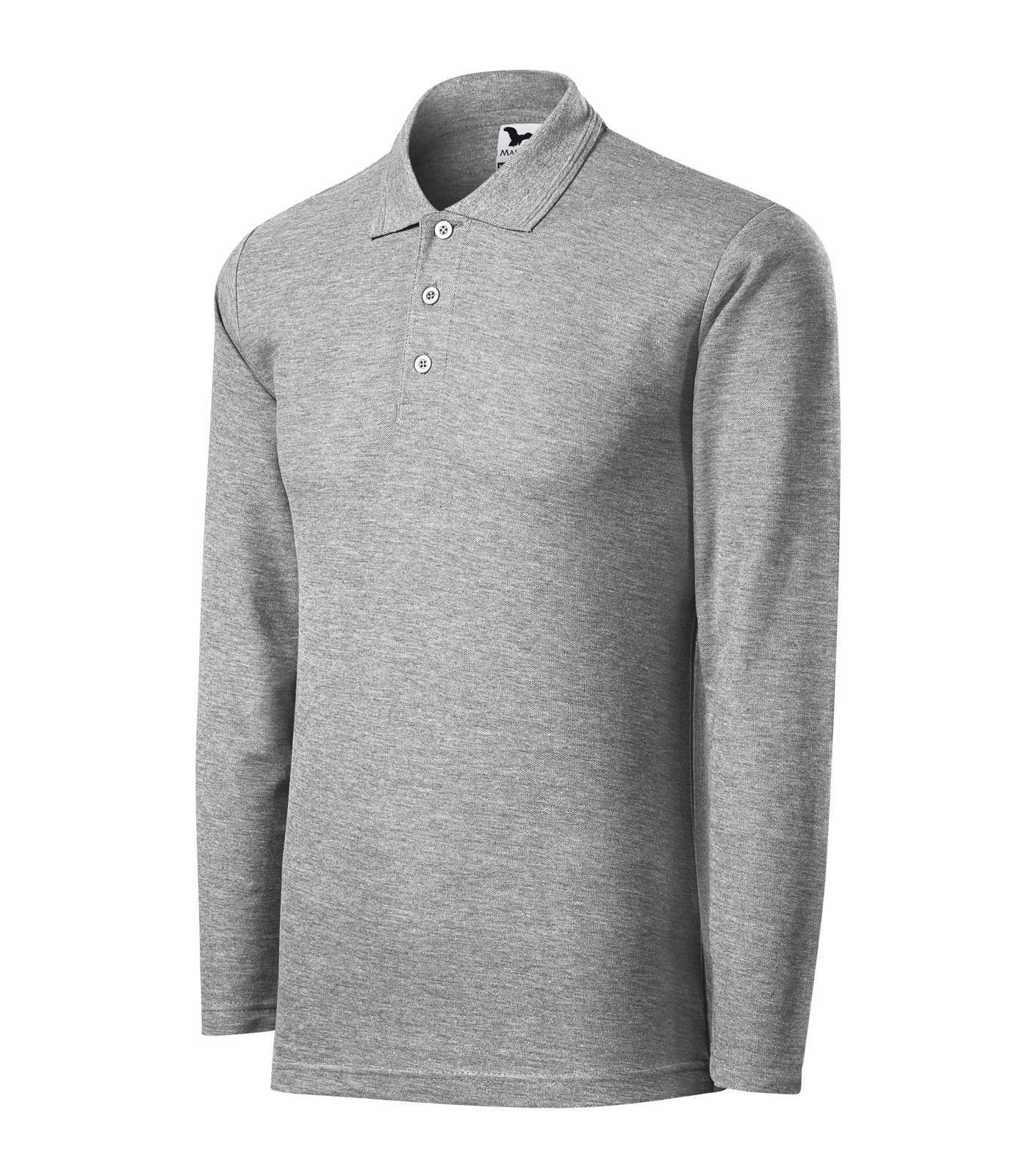 Polo Shirt men's Malfini Pique Polo LS - Dark Gray Melange / XL