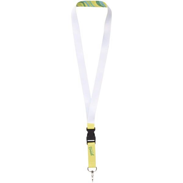 Bude celofarebný lanyard - jednostranný - Bílá / 10mm