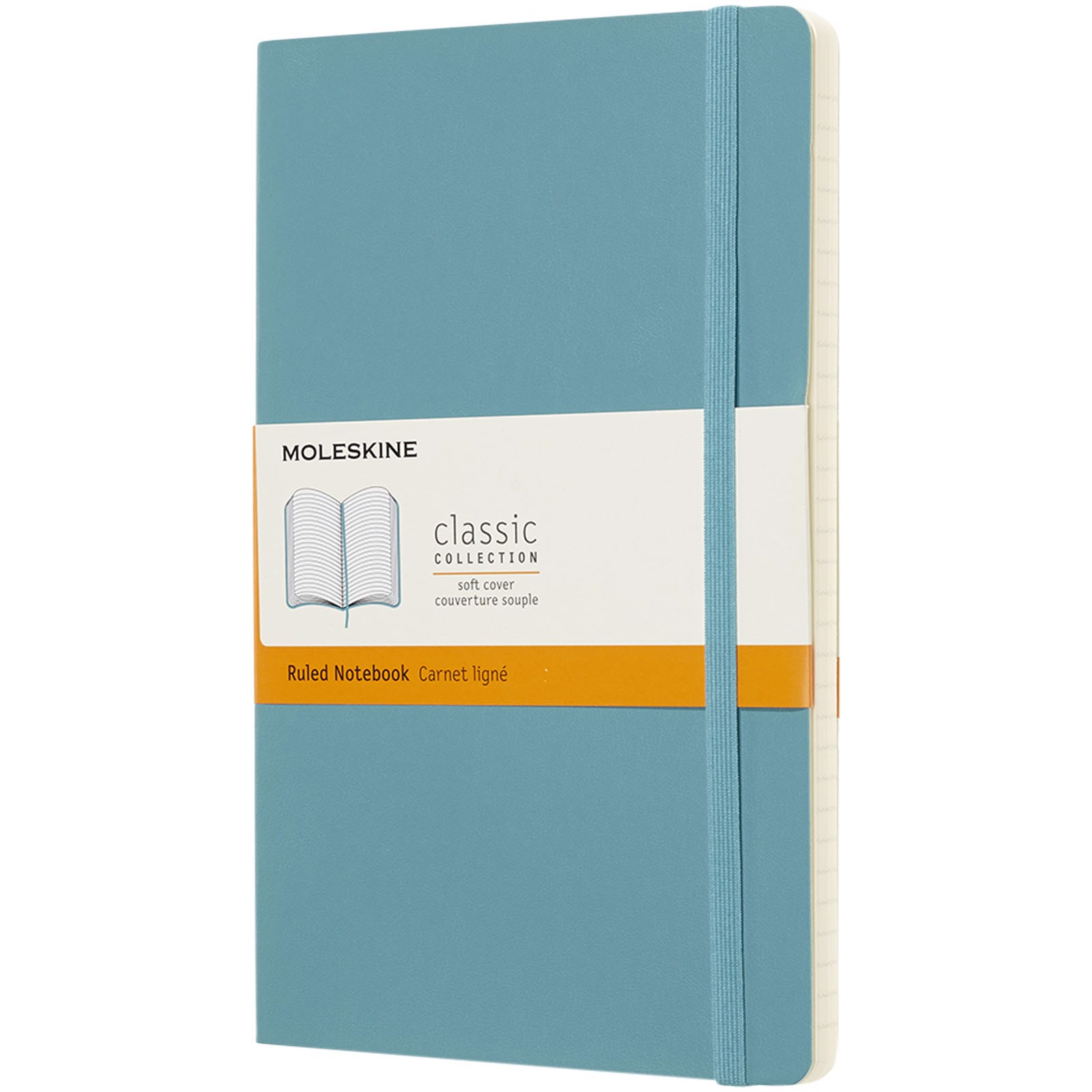 Classic L soft cover notebook - ruled - Reef blue