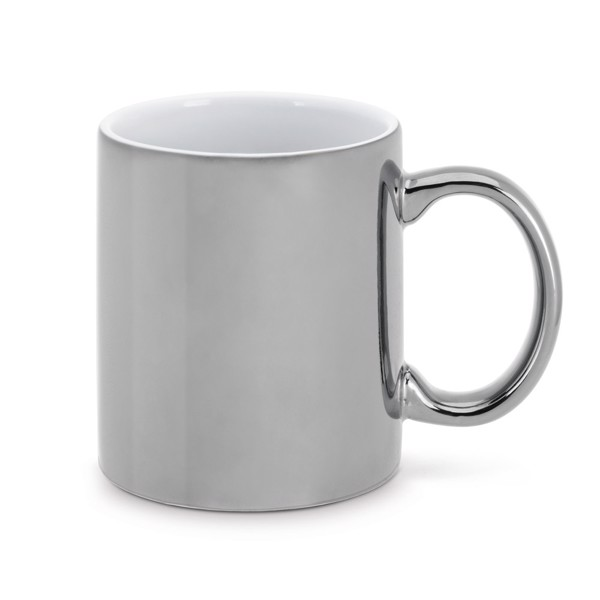 LAFFANI. Taza de cerámica 350 ml - Cromado