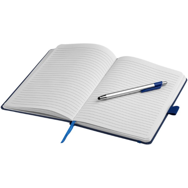 Crown A5 notebook with stylus ballpoint pen - Blue