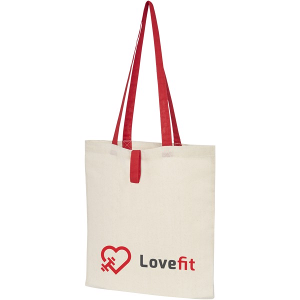 Nevada 100 g/m² cotton foldable tote bag - Natural / Red