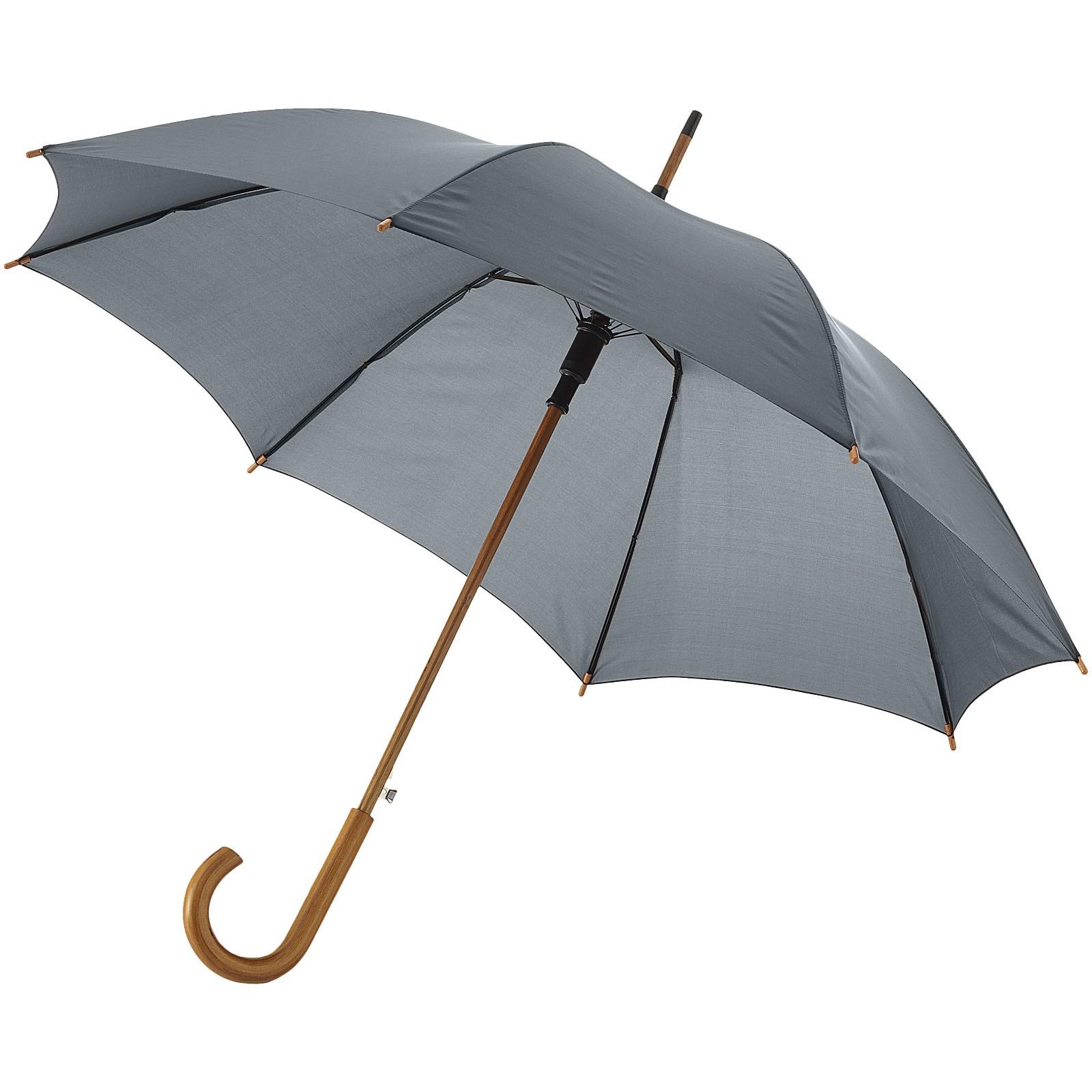 """23"""" deštník Kyle s automatickým otvíráním a dřevěnou tyčí a rukojetí - Šedá"""