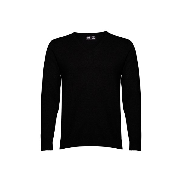 MILAN. Men's V-neck jumper - Black / XXL