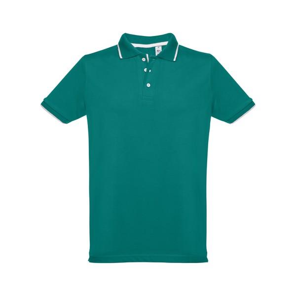 ROME. Ανδρική πόλο μπλούζα slim fit - Σκούρο Πράσινο / L