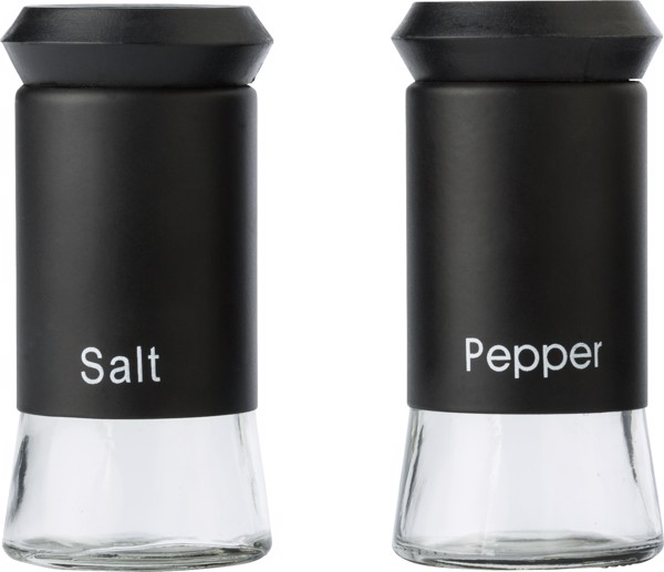 Glass oil and vinegar, and salt and pepper set