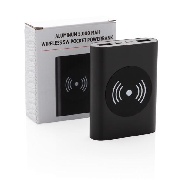 Hliníková bezdrátová powerbanka 5 000 mAh 5W - Černá