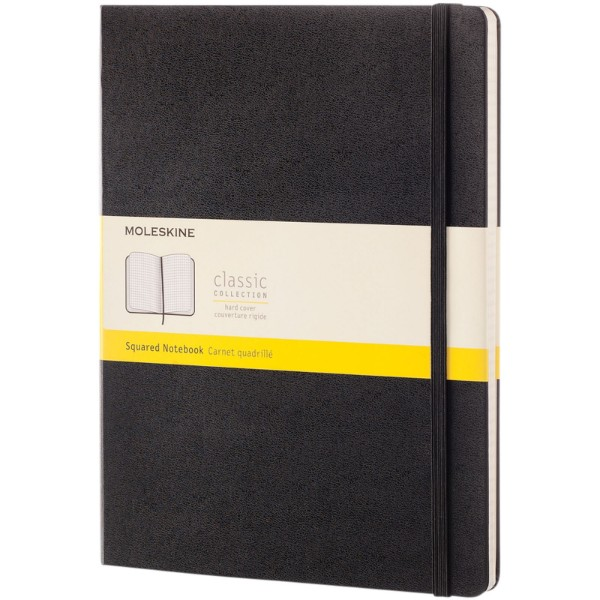 Classic XL hard cover notebook - squared - Solid black