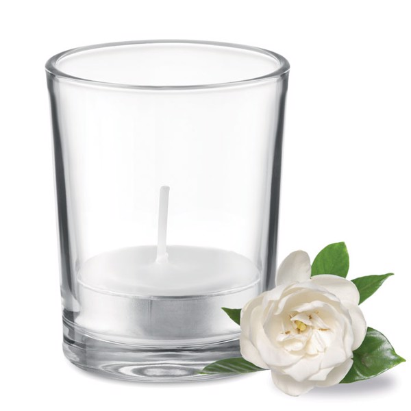Transparent glass holder candle - White