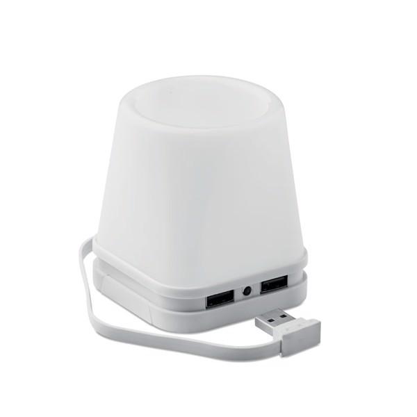 Hub USB-pojemnik na długopisy Fuji - biały