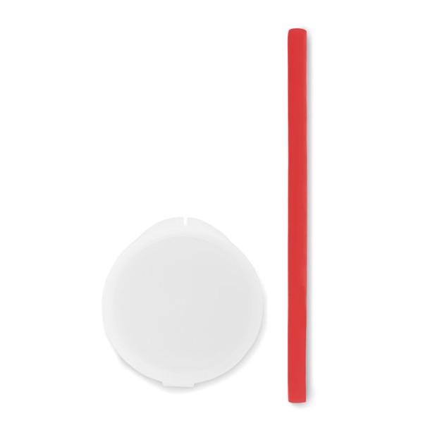 Silicone straw in PP case Flexy Straw - Red