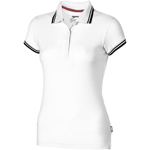 Deuce short sleeve women's polo with tipping - White / L