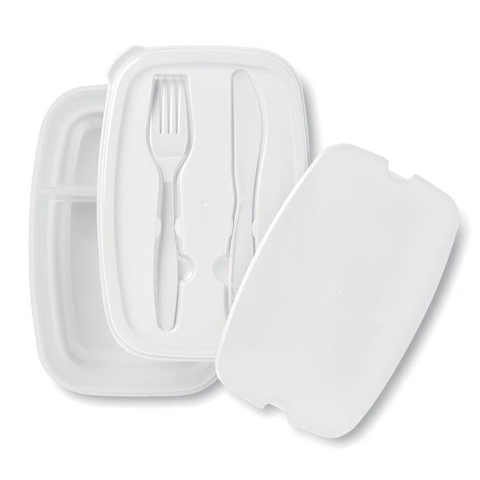Lunch box ze sztućcami Dilunch - biały