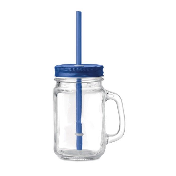 Glass Mason jar with straw Tropical Twist - Blue