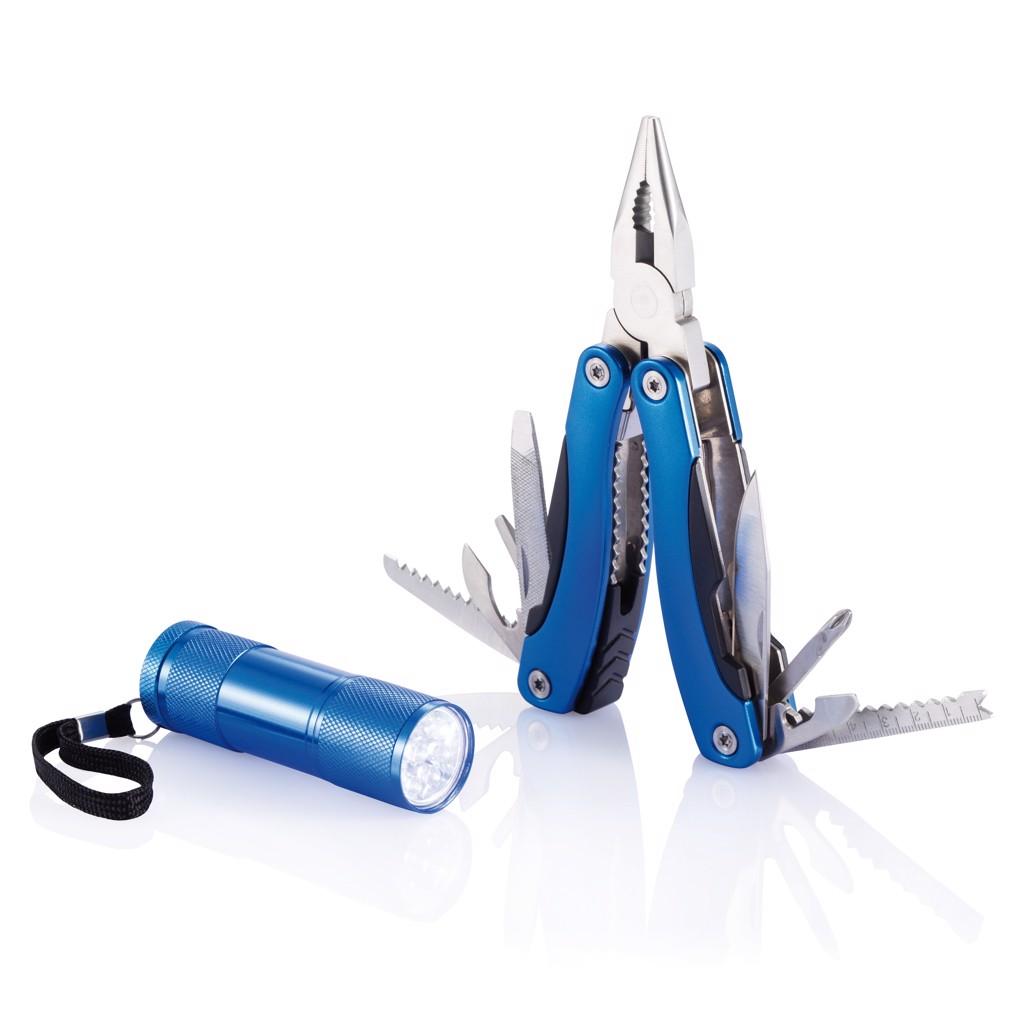 Szerszám és zseblámpa készlet - Kék