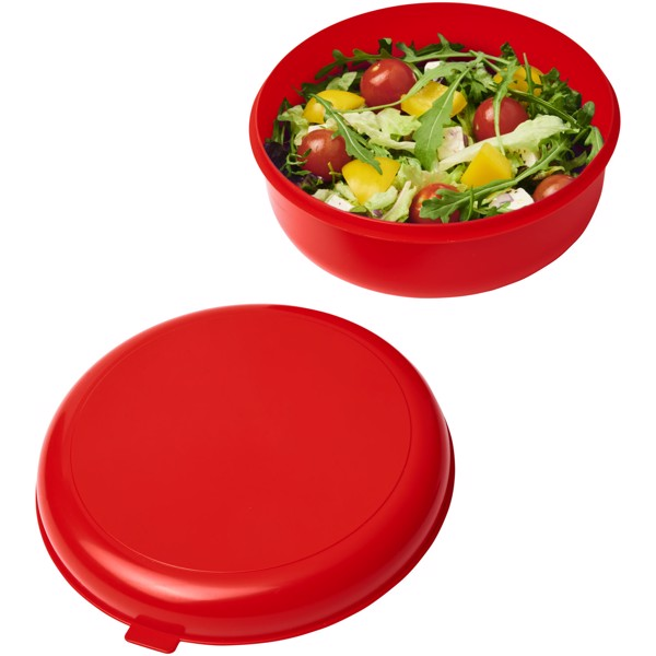 Miku round plastic pasta box - Red