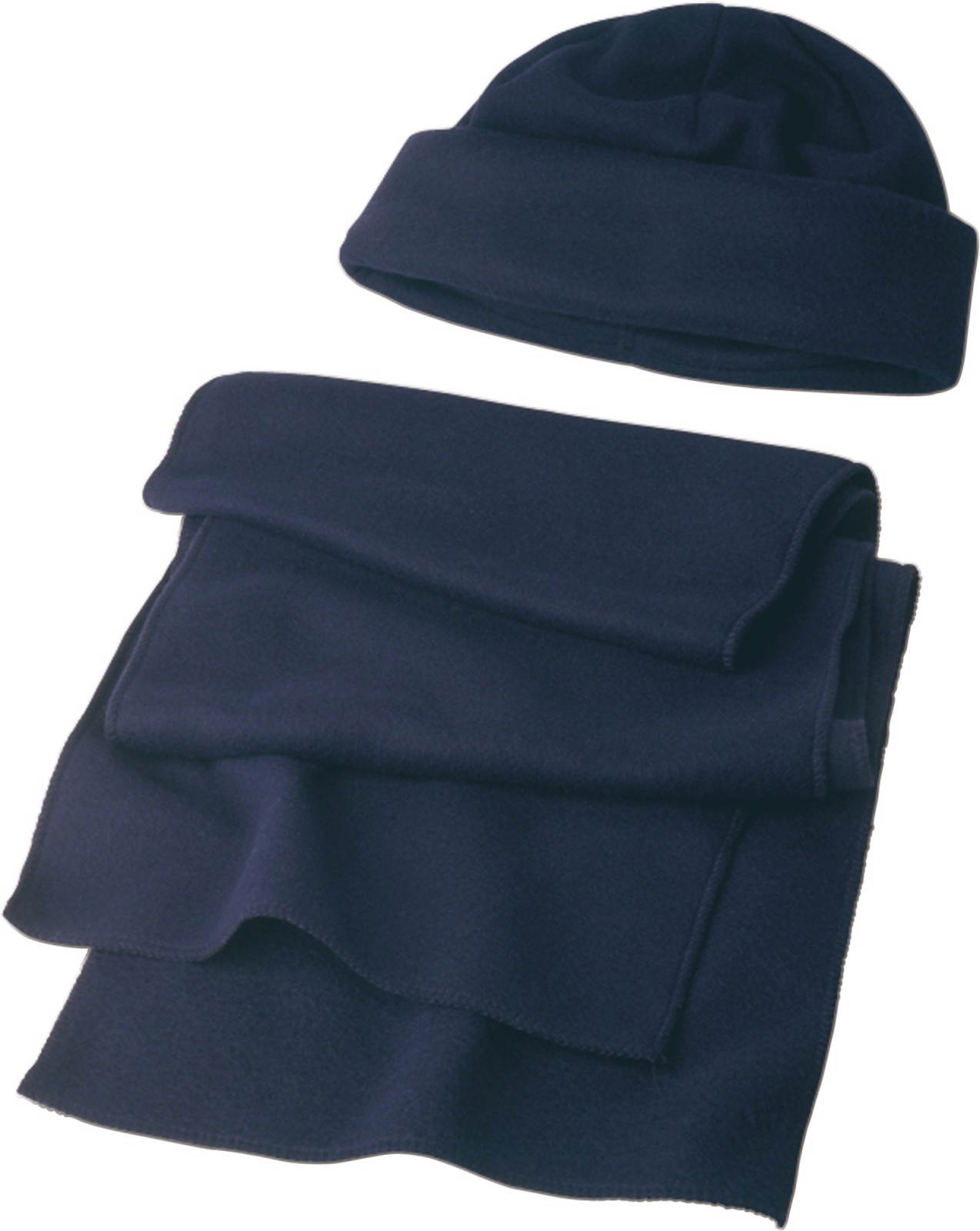 Polyester fleece (200 gr/m²) beanie and scarf - Blue