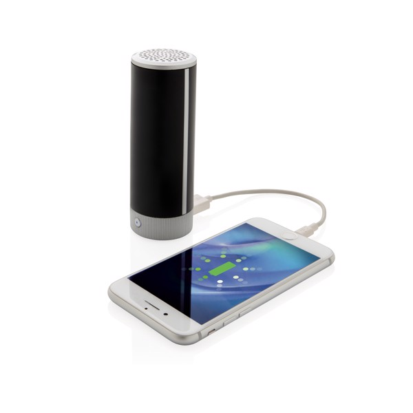 Világító logós vezeték nélküli hangszóró és powerbank