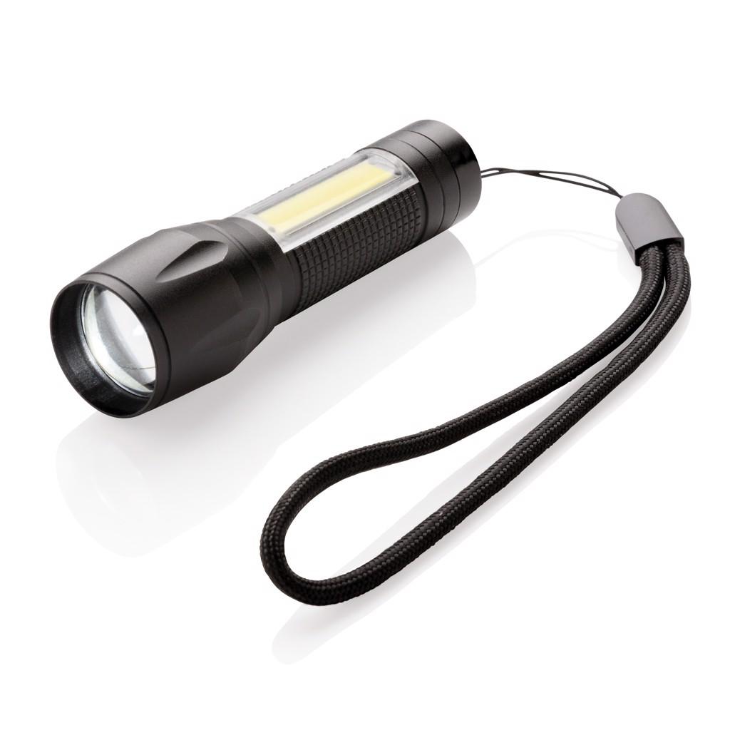 3W LED svítilna s COB světlem - Černá