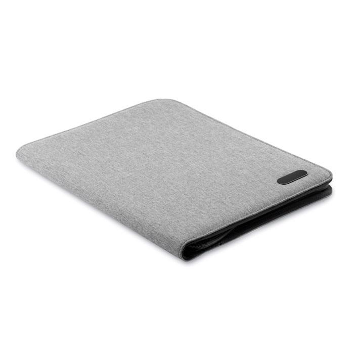 A4 zip portfolio in polyester Notes Folder - Grey