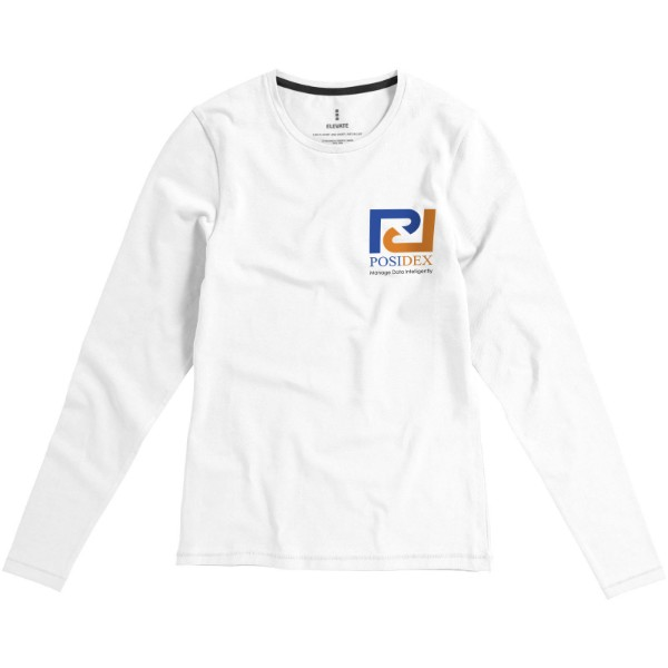 Ponoka long sleeve women's GOTS organic t-shirt - White / XS