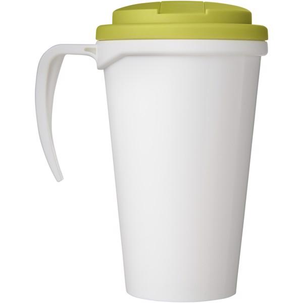 Brite-Americano Grande 350 ml mug with spill-proof lid - White / Lime