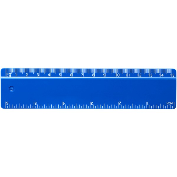 Renzo 15 cm plastic ruler - Blue
