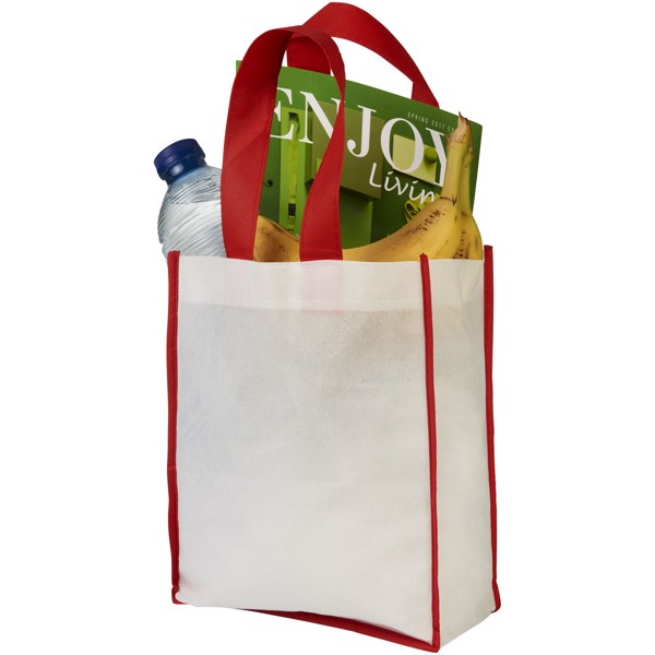 Contrast small non-woven shopping tote bag - White / Red