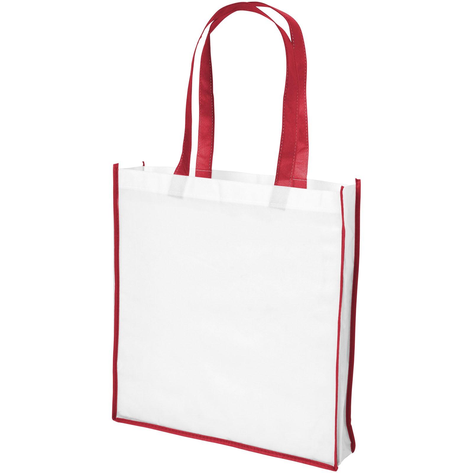 Velká netkaná nákupní odnoska Contrast - Bílá / Červená s efektem námrazy
