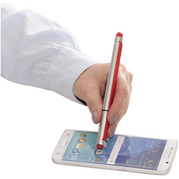 Stretch ballpoint pen with elastic strap - Silver / Red