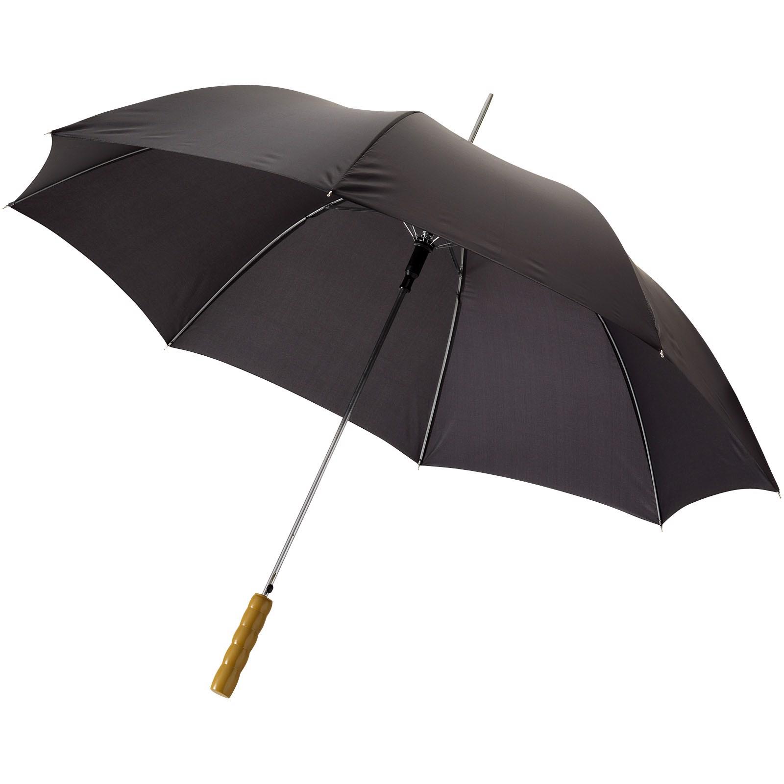 """23"""" deštník Lisa s automatickým otvíráním a dřevěnou rukojetí - Černá"""