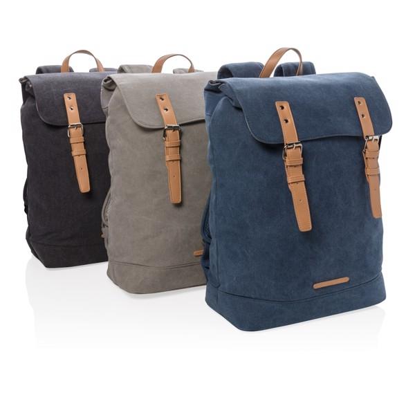 Vászon PVC-mentes laptop hátizsák - Szürke