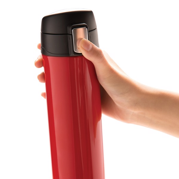 Könnyen zárható vákuum termosz - Piros / Fekete