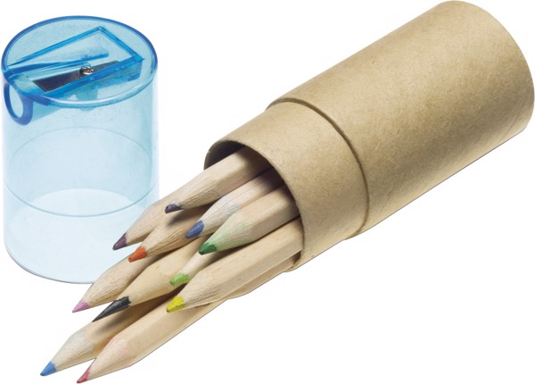 ABS and cardboard tube with pencils - Light Blue