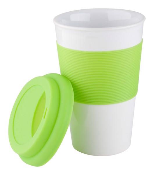 Cană Cu Silicon Soft Touch - Verde Lime Deschis / Alb